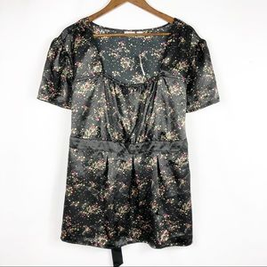 CATO Black Floral Short Sleeve Blouse NWT in 26/28